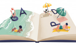 Afbeelding van een boek met strand voor Bestemming: bib 2021
